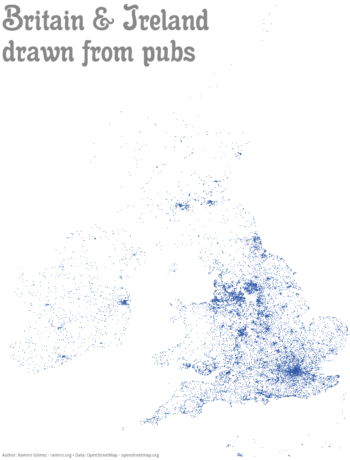 Drawing a Map from Pub Locations with the Matplotlib Basemap