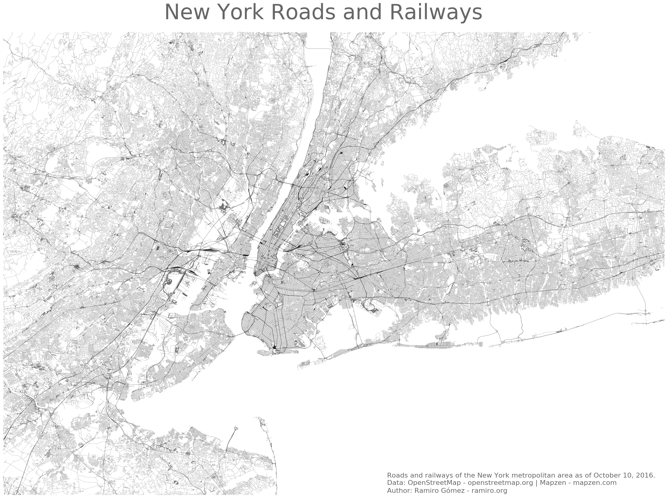 Creating a Road Map of New York in Python using Basemap • Jupyter